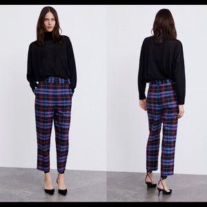 Zara belted plaid pants NWT